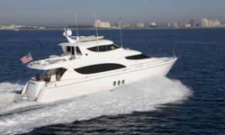 """Blue Moon is a 2007 80MY Hatteras w/Twin 1650hp Caterpillar Engines. The 80 Motoryacht boasts a full 21' 3"""" beam. The Salon & Master stateroom take full advantage of this space. She only draws 5' 8"""" which gives you access to the shallow waters of the"""