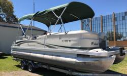 Garmin Fish Finder, double Bimini, Mooring Cover, Compass, Popup changing Station, Porta Potty, Battery Switch, 26 gallon fuel tank, full coast guard equipment, 2 tables. Trailer not included. Nominal Length: 23' Stock number: FL6202RY