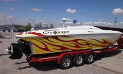 2007 Challenger Powerboat Inc 33 DDC, Twim Mercury 496 MAG (375hp each - 174 hours - 75 mph), hydraulic steering, swim ladder, Bravo I 26 pitch props, transom stereo remote, shorepower, 60 amp battery charger, AC/heat, Jensen head unit with CD player,