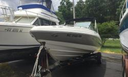 Only 208 hours on this Freshwater Vessel. With 270 Horsepower Volvo 5.0 GXi this boat will fly across the water. Extended Swim Platform with Center Transom Walk Thru. Bimini Top Bow and Cockpit Covers Snap in Carpet Clarion Stereo Depth