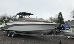 This is a great opportunity to get on the water in a top of the line product. Twenty-seven feet of fun! Call today for a showing. Trades considered. CANVAS BIMINI TOP BOW COVER COCKPIT COVER MOORING COVER DECK ANCHOR W/LINES FILLER CUSHIONS SKI TOW