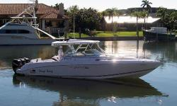 (LOCATION: Vero  Beach USA) The Donzi 38 ZSF is the ultimate offshore high-performance fishing/cruiser. A big center console with extreme good looks and serious performance, she slices through the rough stuff with ease. She has a large open cockpit