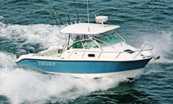 2007 EdgeWater 265 Express, Powered By Twin Yamaha F225 HP's w/ Only 370 Hours! Stars & Stripes Blue Hull Color, Fiberglass Hardtop w/ 4-Sided Enclosure, VHF Radio, 6 Rocket Launchers, Spreader Lights, Electronics Boxes, Raymarine C120 GPS/ Chartplotter/