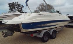 This is a very clean 2007 22' DX235 Glastron. Owner had a New Long Block in stalled in 08/20016 on this 5.0 GXI-G Volvo Penta motor, 2 batteries, on/off switch, ski hook, docking lights, Bimini, cockpit / bow covers, walk-through transom, snap-in carpet,