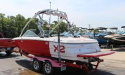 This is a clean one owner 2007 MasterCraft X2.  This boat Includes: 4 Tower Speakers  Mirror  Swinging board Racks  Bimini top  Mooring Cover  Tandem Axle Trailer  MCX 350 with 450 hours  Extra Plug and play ballast