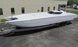 Price Reduction !!! The ultimate high performance catamaran powered with twin Lycoming Turbines bolted to a set of indestructible BPM surface drives.Guaranteed to be the star of the show when you show up with this head turner.Reliabe turbine power