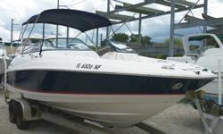 2007 Regal 2400 Bow Rider. Powered with a Mercruiser 350 Mag MPI inboard/outboard motor with a Bravo III outdrive with counter rotating props. Boat comes with full cover, bimini top, porta potti, 2 sinks, fresh water shower, front swim ladder, extended
