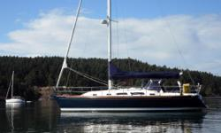 """""""Skana II"""" is a gorgeous blue-hulled Sabre 386, built out of Maine, USA. A classic-looking beauty designed with performance and offshore cruising in mind. She has two large cabins with a convertible settee to Port and long settee to Starboard to sleep 7"""