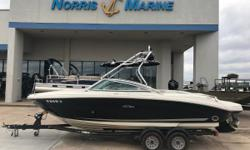 Get ready to go with the flow. This powerful 220 Select comes fully equipped with extended swim platform, built-in insulated ice chest and Sirius satellite receiver with antenna. Additional features include matching trailer with swing-away tongue and