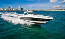 This beautiful, black-hulled 60 Sundancer is probably the most complete Sundancer ordered from the factory. Here are a few of the options that she has installed: Yacht Controller RayMarine Touchscreen Plotters FLIR Night Vision, Digital Radar Sat TV HD