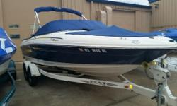 Super clean late model Sea Ray 20' Bowrider with V-8 power! Trades considered. CANVAS BIMINI TOP BOW COVER (BLUE) COCKPIT COVER DECK SKI TOW WALK-THROUGH WINDSHIELD ELECTRICAL 12 VOLT SYSTEM BATTERY (1) ELECTRONICS AM/FM STEREO CD PLAYER LAYOUT BACK TO