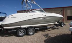 2007 Sea Ray 260 Sundeck with Mercruiser 8.1 375 HP with Bravo Three dual prop outdrive. Very clean boat with 264 hours, Options include vacuflush head with pump out holding tank, Wake board tower and racks, second bimini top with cockpit camper