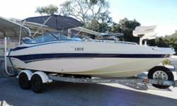 2007 SouthWind 212 SD Deck Boat with four stroke Yamaha 150 and tandem axle trailer. This boat is nicely equipped with a bimini top w/forwardisinglass shield, two removable bow fishing chairs, bow table, custom snap on boat cover (extra boat