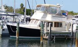 "Description Pristine bristol condition LOADEDvessel with low hours and many custom upgrades. Dark blue Awlgripped hull Single Yanmar 380 bow and stern thrusters Kohler generator 2 A/C's ""Tommy Bahama"" package. Whether used for long-distance cruising by an"