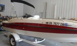 """SALE PENDING FOR """"TODD"""" PACKAGED WITH A NEW GALVANIZED TRAILER W/BRAKES, THIS 19' DECK UNIT HAS THE 135HP MERCRUISER, FULL COVER, SUNTOP, FULL GLAS LINER, REAR SWIM DECK W/SKI TOW RING, BOAT AND ENGINE HAVE SOME WARRANTY TOO, ALL CHECKED AND WILL BE LAKE"""
