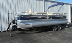This is a very nice one owner pontoon that only has 99.7 hours. It has been meticulously maintain by the owner and its shows. The engine has been serviced annually which includes oil changes, impeller services, etc..... This would make a great boat for a