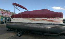 """2008 Bentley 200 Cruise pontoon with a 2012 Mercury 90 HP four stroke motor sitting on a single axle Bear trailer. Red and White with 25"""" diameter pontoons, rear entry, rated for 14 persons, color matched bimini top and full snap on playpen cover. Located"""