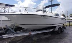 Century 2001 CC with F150TX Yamaha engine and Magictilt aluminum tandem trailer.  Boat includes windless anchor, GPS/DP, Boat cover, console cover, spare tire, S/S prop, dual battery charger and switch, hydraulic steering, bimini top and stereo.
