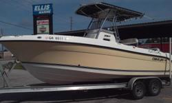 2008 Century 2301 Center Console w/2008 Yamaha Four Stroke 250HP engine(800 Hours) and Tandem Axle Aluminum Trailer w. SST hardware. Option s include T-Top,Garmin GPS Combo, Stereo, VHF Radio. We are the Original selling dealer.
