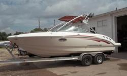 2008 Chaparral 236 powered by Volvo 5.0 Gxi with a dual prop drive. Boat includes bimini top, snap cover, wind guides, docking lights, bolster seats, front & rear ladders, porta pot, tower, tower speakers, wake board rack, radio, battery charger, battery