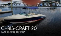 Actual Location: Lake Placid, FL - Stock #109502 - If you are in the market for a runabout, look no further than this 2008 Chris-Craft LANCER 20, priced right at $36,200 (offers encouraged).This boat is located in Lake Placid, Florida and is in mint