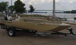 This is a popular jon boat. An 18 footer with a 70in bottom, built in fuel cell, spray in liner, rod/gun locker, aerated livewell, Mercury 60hp 4 stroke with SS prop and a Shorlandr trailer with a swing tongue. She was a one owner boat we sold new. Yes