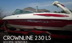 Actual Location: Hooper, NE - Stock #080041 - Sleek, Sporty and Ready for Action.2008 Crownline 230 LS Bowrider that is powered by a 350 Mag MPI Mercruiser Bravo III dual prop outdrive, only 120 hours, stainless steel props, Red/White with silver