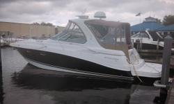This Four Winns 378 Vista is a well-styled boat with her flowing lines and forward-facing arch, and she has one of the larger cockpits to be found in a 37-footer. This boat is very well equipped, but what really makes her stand out are the twin Volvo