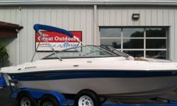 THE GREAT OUTDOORS MARINE - THE FUN STARTS HERE! 2008 FOUR WINNS H190 - WHITE & BLUE 2008 MERCRUISER 4.3GXI (225HP) I/O w/ 287 HOURS 2008 TANDEM AXLE TRAILER W/ BRAKES Extended swim platform Bimini top w/ walk-thru curtain attachment Full Enclosure