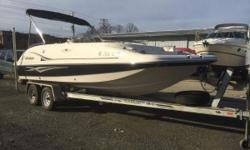 Nice Clean Deck Boat with room for 10 people and all their gear! This is a One Owner and Freshwater Only Vessel and it comes with the upgraded fishing package (Two Fishing Chairs on the bow, Livewell and rod holders) and a Minn Kota Trolling Motor.