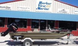 Gently used Aluminum fish boat. It comes with a trolling motor, bimini top, fish seat and trailer. Powered with a Mercury 50 HP. Nominal Length: 16' Stock number: 4853 sd