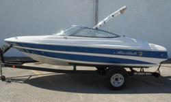 2008 Mariah SX18 equipped with Mercruiser 4.3 L 190 hp inboard/outboard motor. Boat includes strap cover, rear ladder, depth finder, radio, battery switch and single axle trailer. 8 person capacity. Please call before coming to view as our inventory
