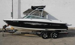 2008 Monterey 214 Fish & Ski equipped with Mercruiser 5.7 TKS inboard/outboard motor. Boat includes bimini top, snap cover, docking lights, extended swim platform, bolster seats, rear ladder, tower with Wet Sound cone speakers, Wet Sound amp, Kenwood amp,