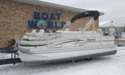 2008 Premier 201 Explorer Pontoon & 60HP Suzuki-Stroke EFI Outboard! Motor Only Has 244 Hours And Runs Great! This 20' Premier Pontoon Has Two Upgraded Front Swivel Fishing Seats With Corner Cup Holders, Wrap Around Lounge Bench Seating With Storage, Rear