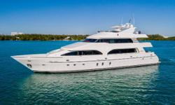 The President 107 tri-deck is a classic style yacht that affords immense volume truly setting her apart from the competition in this size range.  Thanks namely to her 24 foot beam the yacht feels like a 120 footer; every room feels larger and