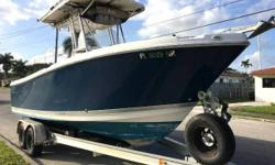 FOR QUESTIONS CONTACT: DON 954-295-5388 or DHorn62259@aol.com 2008 Pro-Line 23 Sport Center Console DETAILS: Tandem axle trailer Honda BF225 4 stroke (690 Hours) Porta potty in center console Storable transom seat Live well Salt water wash down Transom