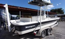 2008 Ranger Bay Boat with a Yamaha F250 engine and a 2015 tandem axle Rocket trailer. Price includes T-top, Stainless steel prop, 12' jack plate, stereo with 4 speakers, 8' power pole, 3 bank charger, 80lb motorguide electric steer trolling motor, trim