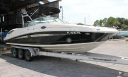 Exceptionally clean Sea Ray Sundeck 290 with all new interior.Sought after model with collapsible ski tower and extended swim platform Mercruiser 496 Mag(recent rebuild),Bravo III Outdrive,Corsa Switchable Exhaust,Fire Suppression System,Trim