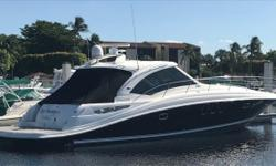 2008 48' Sea Ray Sundancer -- Relocated to FL from Fresh Water -- Black Hull Vessel with 338 Hours on Cummins DieselsLoaded with Upgrades: Hydraulic Swim Platform, Bow + Stern Thrusters, Teak in Cockpit + Helm, Satellite TV, Cockpit A/C + Heat & Much