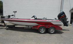 2008 Skeeter 20i bass boat equipped with Yamaha 250 hp outboard motor and Minn Kota Fortrex 36 V trolling motor with 112 lbs.thrust. Boat includes rear ladder, livewell, hydraulic steering, 4 bank battery charger, rod storage, 12': jack plate, hot foot,,