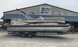 STOCK # 53322008 SUNTRACKER PARTY BARGE 26 I/O** MERCRUISER 3.0L 135 hp TKS ** 15 GAL FRESH WATER TANK ** 30 GAL FUEL TANK ** ANCHOR ** BIMINI TOP ** DUAL BATTERIES W/SWITCH ** STEREO ** VHF W/ANTENNA Engine(s): Fuel Type: Gas Engine Type: Stern Drive -