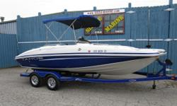 Mercruiser 4.3L 190HP TKS (Turn Key Starting) * Full cockpit cover * Bimini top w/ drop down changing curtain * Digital in dash depth finder * AM/FM/CD Stereo w/ Aux. input jack * 12 volt outlet * 2 removable fishing chairs * Bow aerated livewell *