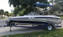 2008 Tahoe Q4, by Tracker, 18Ft. powered by a great running Mercruiser 3.0L on a Custom Blue Trailer with Spare Tire. Two new Batteries, Full instrumentation, Blue Bimini Top, Glove Compartment, Folding Walk Thru Windshield to Bow Seating with Storage