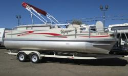 Low, low hours on this 2008 Voyager 22 Super Center Console fishing pontoon boat with 115HP HONDA 4-STROKE outboard! It's the perfect setup if you're a fisherman and very comfortable for lake cruising/relaxing even if fishing isn't your thing! Equipped