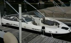 Your ticket to all the Wake Sports!! Twin EFI 160hp, No Wake Mode, Tower w/Racks & 2 Tower Speakers, Ballast System Fully Maintained, AM/FM XM Stereo, Front & Rear Fold Up Ladders, Bow Fill-in Cushion, Mooring Cover, In Floor Self Draining Cooler, Dual