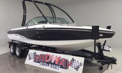 Go to our web site for updated info: midwayautoandmarine.com. Over 75 used family boats in stock. All with warranty. Delivered all over the U.S. and Canada. This is a 2 owner boat with only 35 total hours! Crazy!! Only 35 hours!! Like new!! First owner