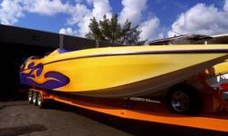 """2010 Express cat twin Intense 1000 S/C ,#6 Dry sumps / 125 Mph plus ..on pump gas .very reliable power package . Color GPS ,stereo system etc.. Custom paint & 5 man cockpit including a cabin and head This boat Must be sold """" accepting all serious"""