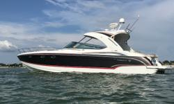 This loaded model has only 500 hours on twin 8.2 MerCruiser 496 MAG High Output EnginesMerCruiser Axius Premier Stern Drive Docking SystemFreshwater Engine FlushAnchor Washdown SystemUnderwater LightsRaymarine E127 GPSFusion StereoLocated in St.