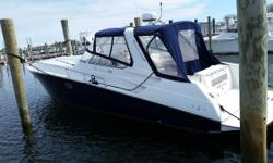 This 38 Fountain Express Cruiser has been meticulously maintained and it shows! Cabin looks like new, entire boat is in excellent condition.Twin Cummins QSD-350 and Bravo III XR Sea Core Sterndrives provide a performance ride, Radar Arch with Full Bimini