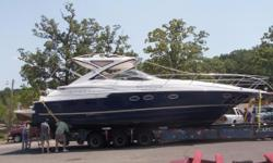 This one owner, fresh water boat is ready to go.She rides on a beamy deep-V hull and offers a home-sized galley with hardwood floor, two private staterooms and two heads. Loaded with options including underwater lights, gas grill in cockpit